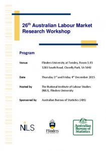 26 th Australian Labour Market Research Workshop