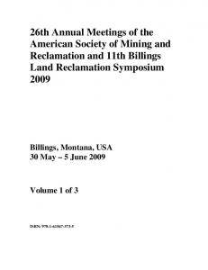 26th Annual Meetings of the American Society of Mining and Reclamation and 11th Billings Land Reclamation Symposium 2009