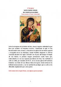 27 de junio SANTA MARIA VIRGEN DEL PERPETUO SOCORRO