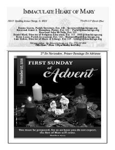 27 De Noviembre, Primer Domingo De Adviento