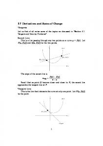 2.7 Derivatives and Rates of Change