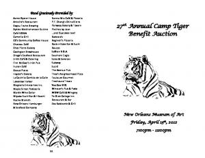27 th Annual Camp Tiger Benefit Auction