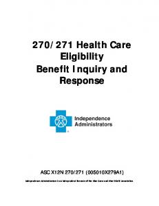 271 Health Care Eligibility Benefit Inquiry and Response