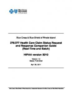 277 Health Care Claim Status Request and Response Companion Guide (Real-Time and Batch)