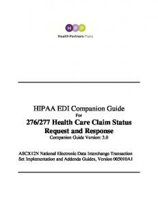 277 Health Care Claim Status Request and Response Companion Guide Version: 3.0