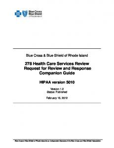 278 Health Care Services Review Request for Review and Response Companion Guide