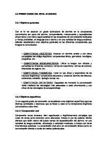 2.8 PRIMER CURSO DEL NIVEL AVANZADO Objetivos generales