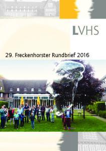 29. Freckenhorster Rundbrief 2016