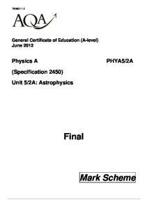 2A: Astrophysics Final Mark Scheme