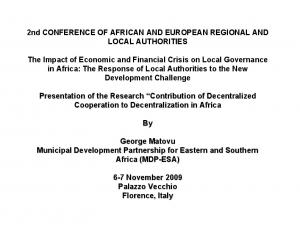 2nd CONFERENCE OF AFRICAN AND EUROPEAN REGIONAL AND LOCAL AUTHORITIES