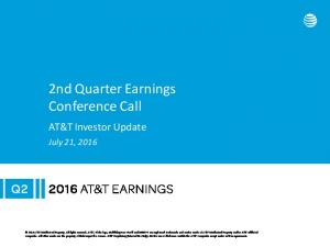2nd Quarter Earnings Conference Call