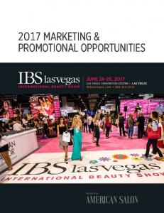 2O17 MARKETING & PROMOTIONAL OPPORTUNITIES