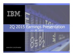 2Q 2015 Earnings Presentation July!20,!2015!