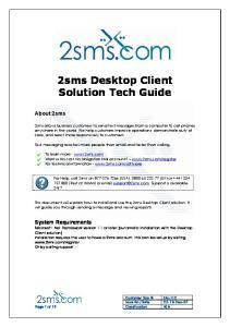 2sms Desktop Client Solution Tech Guide
