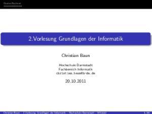 2.Vorlesung Grundlagen der Informatik