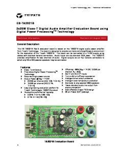 2x25W Class-T Digital Audio Amplifier Evaluation Board using Digital Power Processing TM Technology