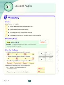 3-1. Lines and Angles. Vocabulary. Review. Vocabulary Builder. Use Your Vocabulary