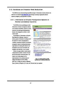 3-2. Database on Disaster Risk Reduction