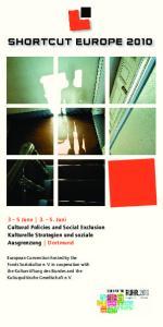3 5 June Juni Cultural Policies and Social Exclusion Kulturelle Strategien und soziale Ausgrenzung Dortmund