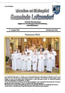 3. Ausgabe 2016 Juli-September Kommunion 2016