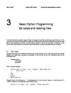 3 Basic Python Programming: