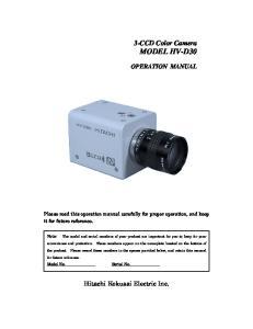 3-CCD Color Camera MODEL HV-D30