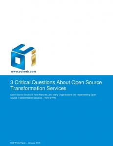 3 Critical Questions About Open Source Transformation Services