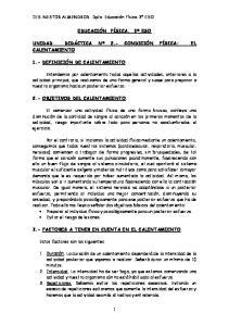 3.- FACTORES A TENER EN CUENTA EN EL CALENTAMIENTO