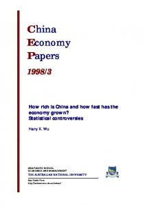 3. How rich is China and how fast has the economy grown? Statistical controversies. Harry X. Wu