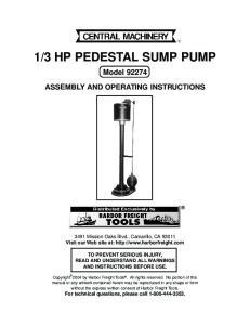 3 HP PEDESTAL SUMP PUMP