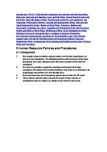 3 Human Resource Policies and Procedures