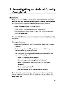 3. Investigating an Animal Cruelty Complaint