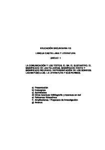 3 LENGUA CASTELLANA Y LITERATURA UNIDAD 1