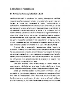 3. MOTIVACIONES PSICOSOCIALES. 3.1 Motivaciones Humanas y la Conducta Laboral