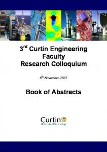 3 rd Curtin Engineering Faculty Research Colloquium