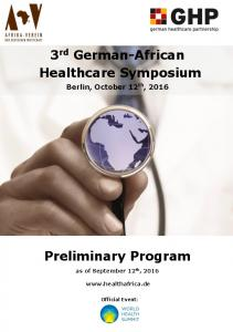 3 rd German-African Healthcare Symposium