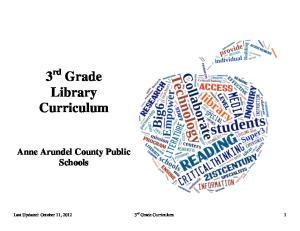 3 rd Grade Library Curriculum