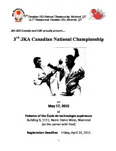 3 rd JKA Canadian National Championship