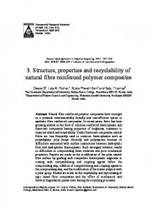 3. Structure, properties and recyclability of natural fibre reinforced polymer composites
