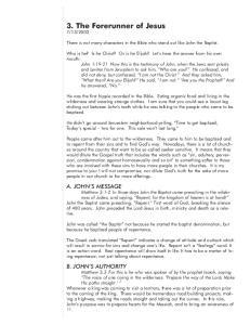 3. The Forerunner of Jesus
