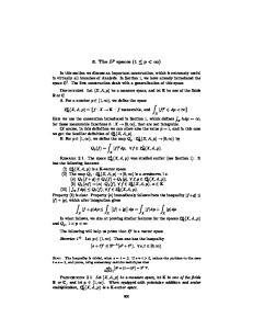 3. The L p spaces (1 p < )