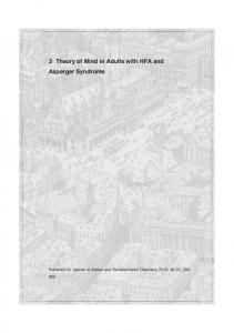 3 Theory of Mind in Adults with HFA and Asperger Syndrome