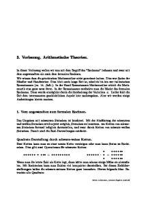 3. Vorlesung. Arithmetische Theorien