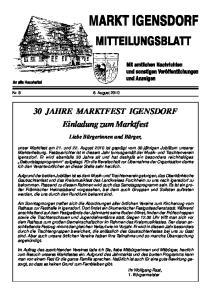 30 JAHRE MARKTFEST IGENSDORF Einladung zum Marktfest