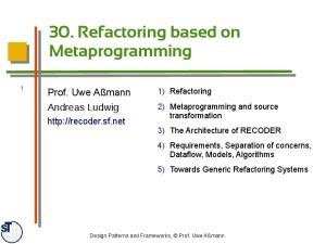 30. Refactoring based on Metaprogramming