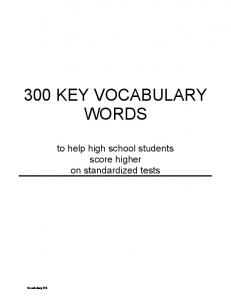 300 KEY VOCABULARY WORDS