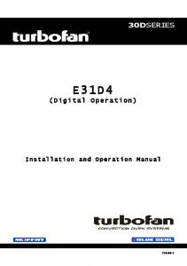 30DSERIES E31D4. (Digital Operation) Installation and Operation Manual