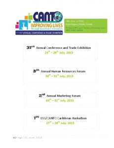31 st Annual Conference and Trade Exhibition 26 th 29 th July, th Annual Human Resources Forum. 2 nd Annual Marketing Forum