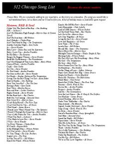 312 Chicago Song List Because the music matters