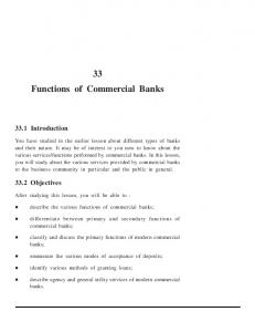 33 Functions of Commercial Banks